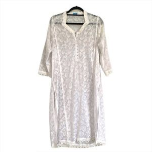 White 3/4 sleeves Dress/Cover up